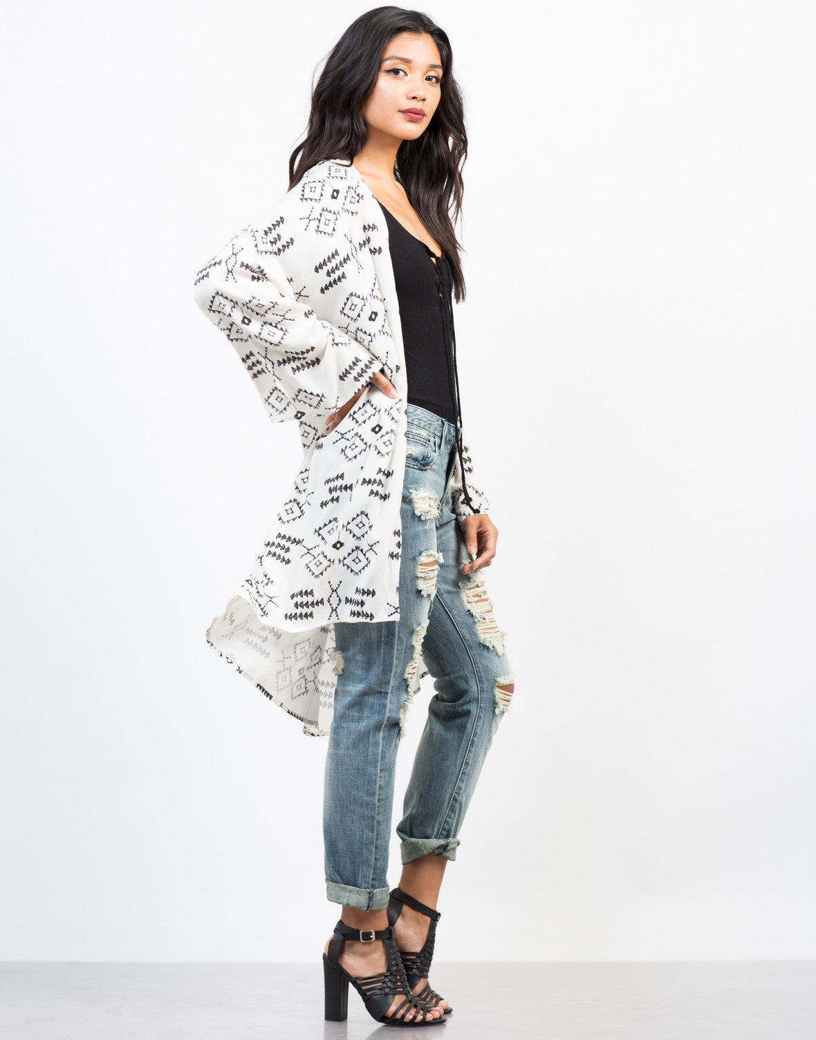 Side View of Take Me Away Vacay Kimono