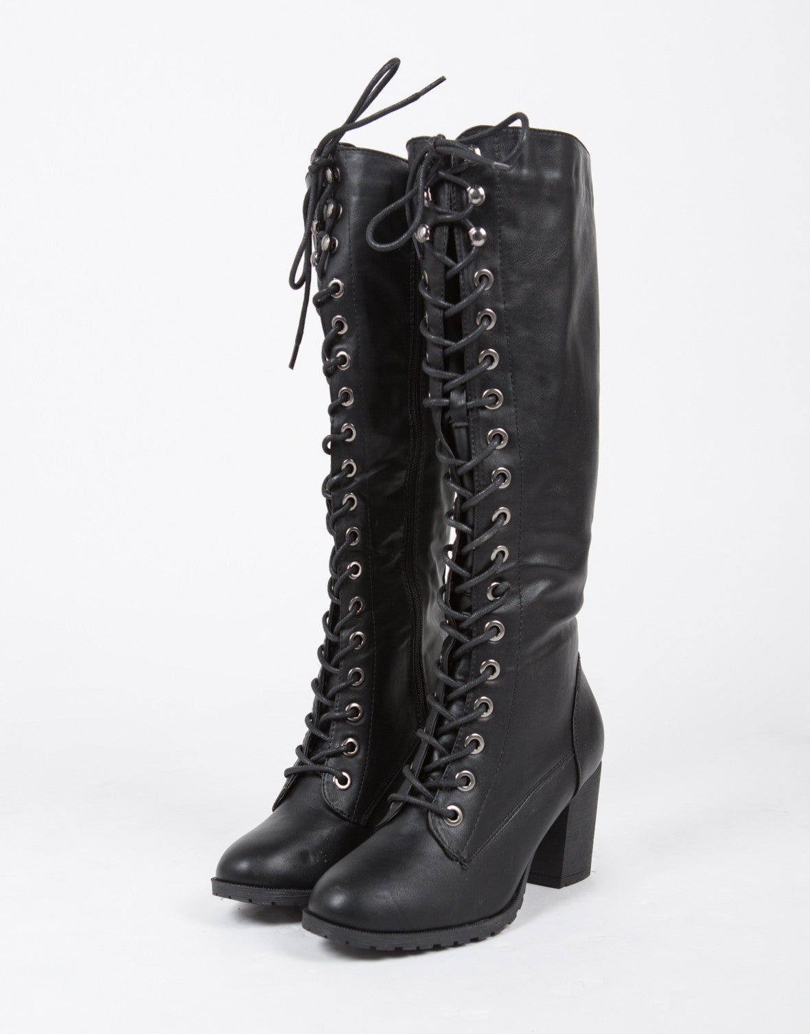 Tall Lace Up Boots - Black Boots - Knee High Boots - Chunky Boots ...