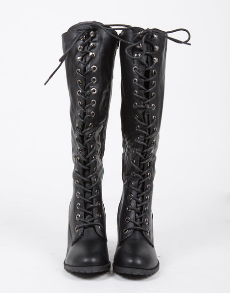 Tall Lace Up Boots Black Boots Knee High Boots