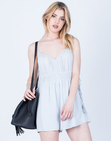 Front View of Tassel Tied Romper