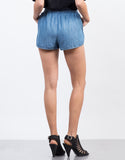 Back View of Tassel Denim Shorts
