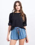 Front View of Tassel Denim Shorts