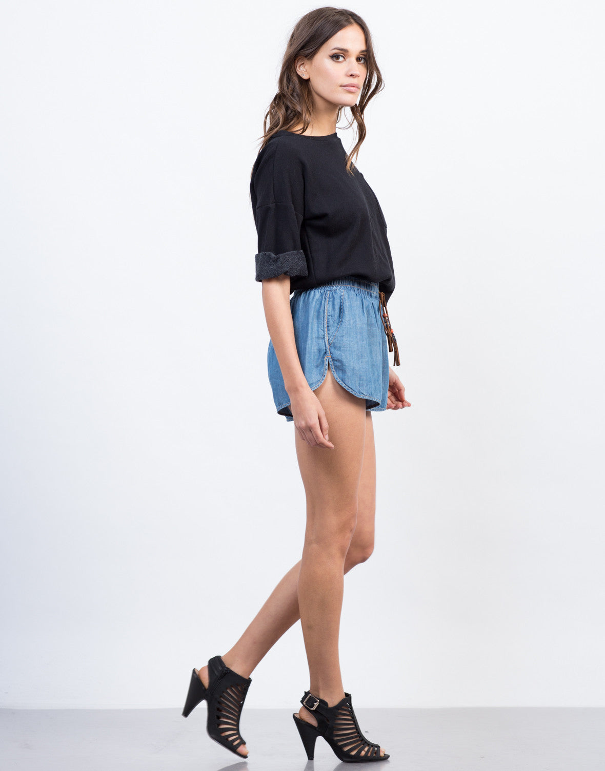 Side View of Tassel Denim Shorts