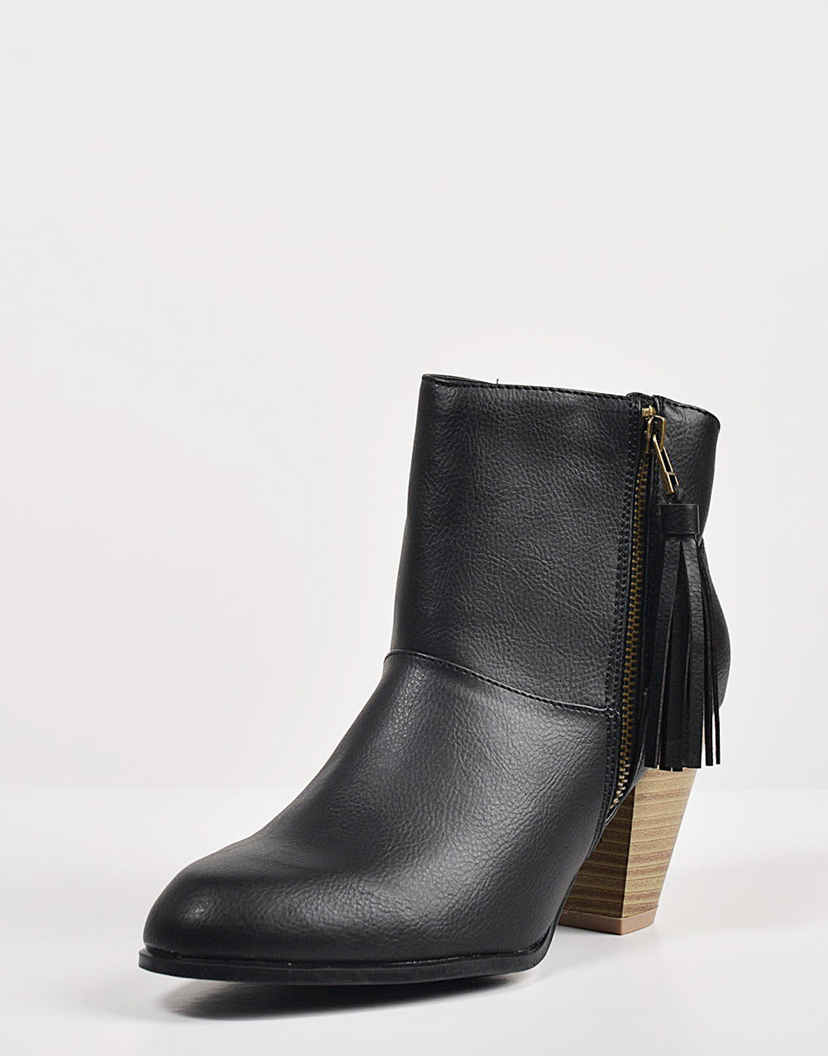 Detail of Tassel Zippered Ankle Booties