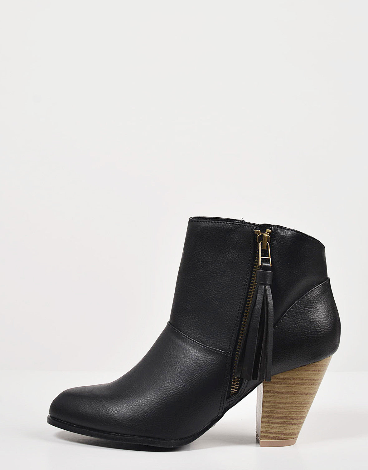 Side View of Tassel Zippered Ankle Booties