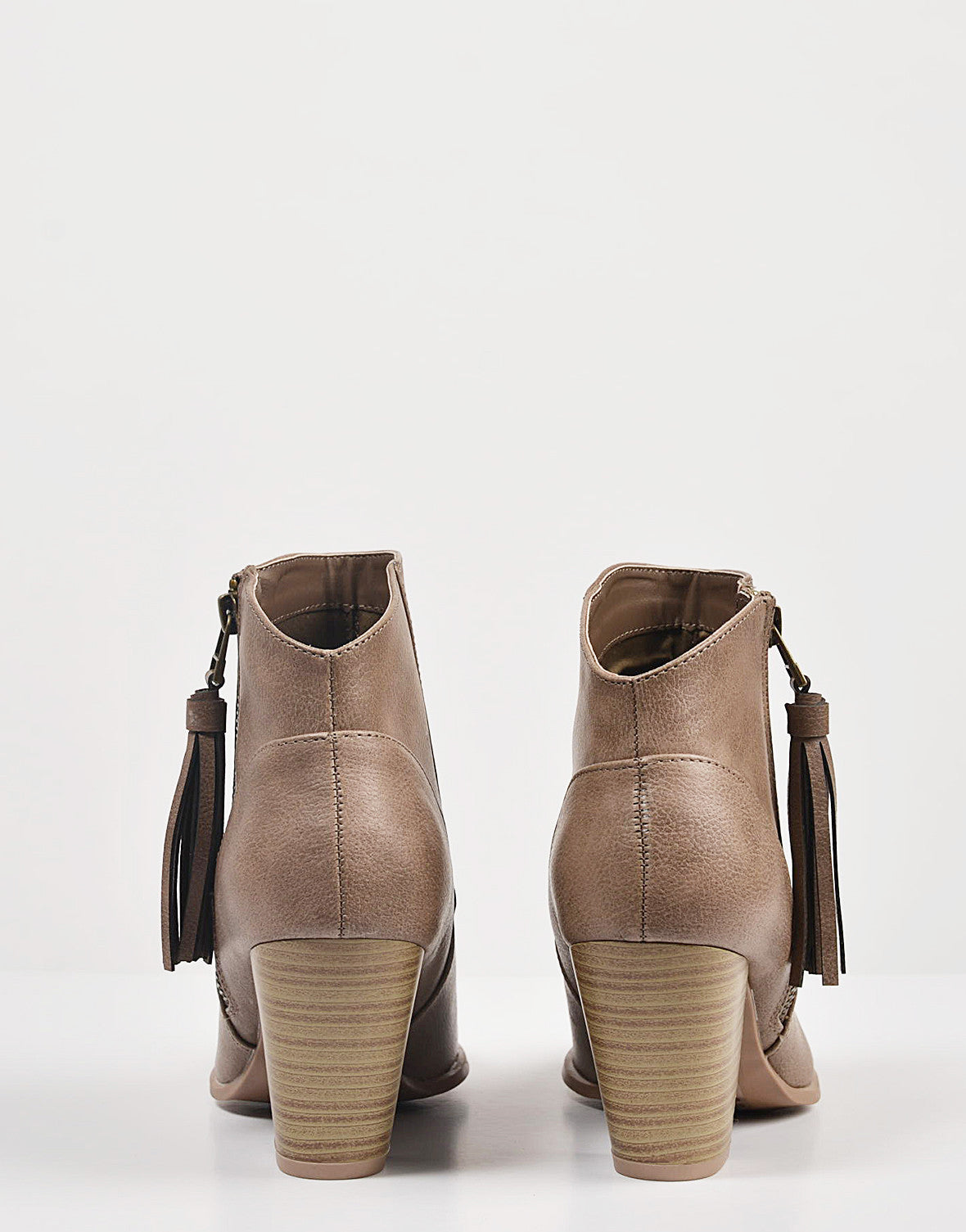 Back View of Tassel Zippered Ankle Booties