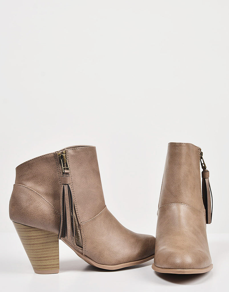 Tassel Zippered Ankle Booties - 2020AVE