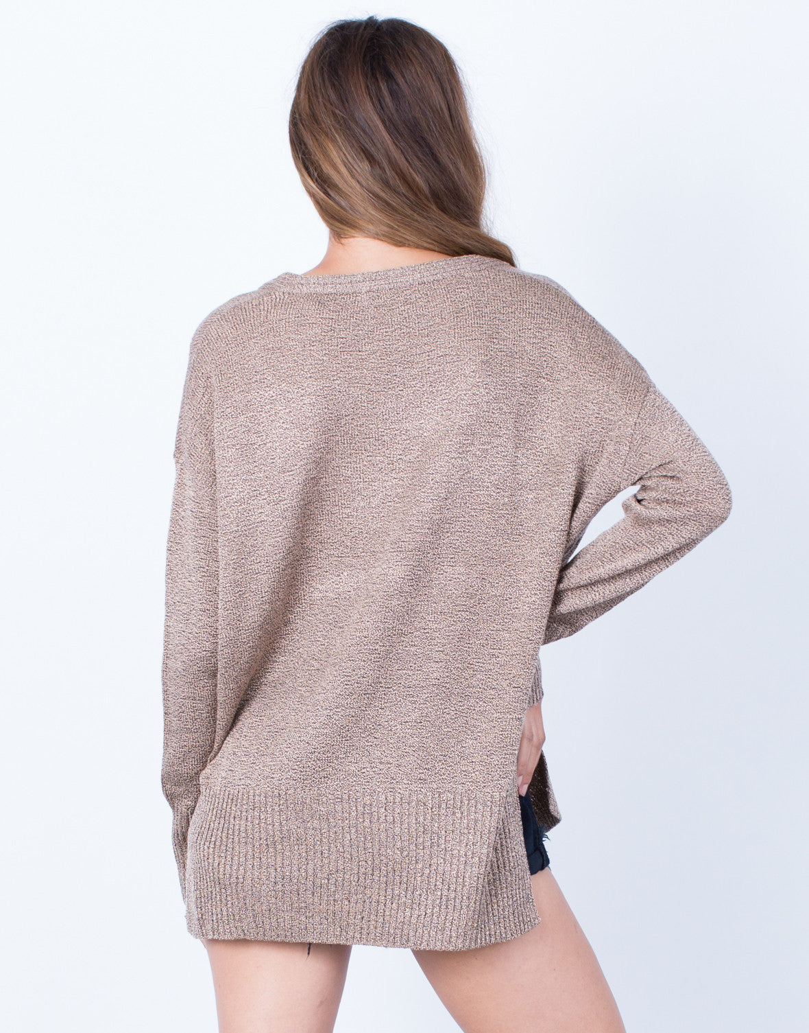 Back View of Taupe it Off Sweater Top