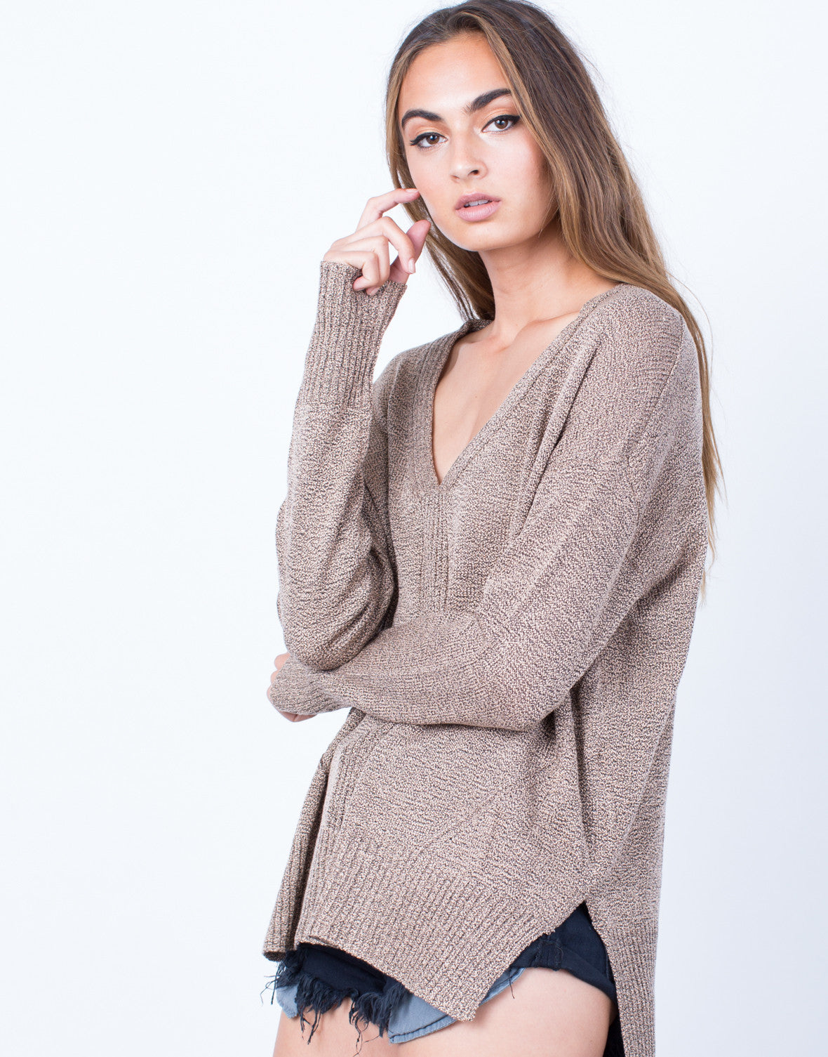 Detail of Taupe it Off Sweater Top