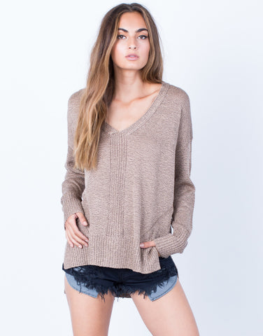 Front View of Taupe it Off Sweater Top