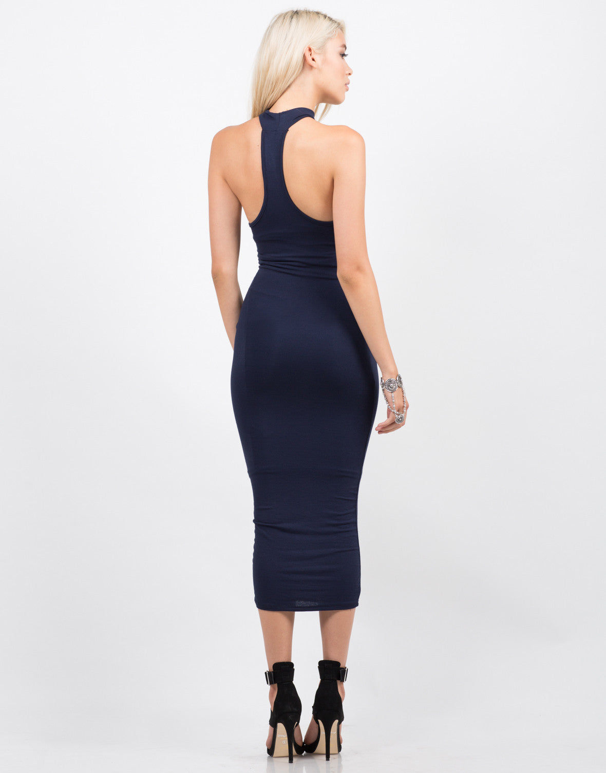 Back View of T-Back High Neck Midi Dress