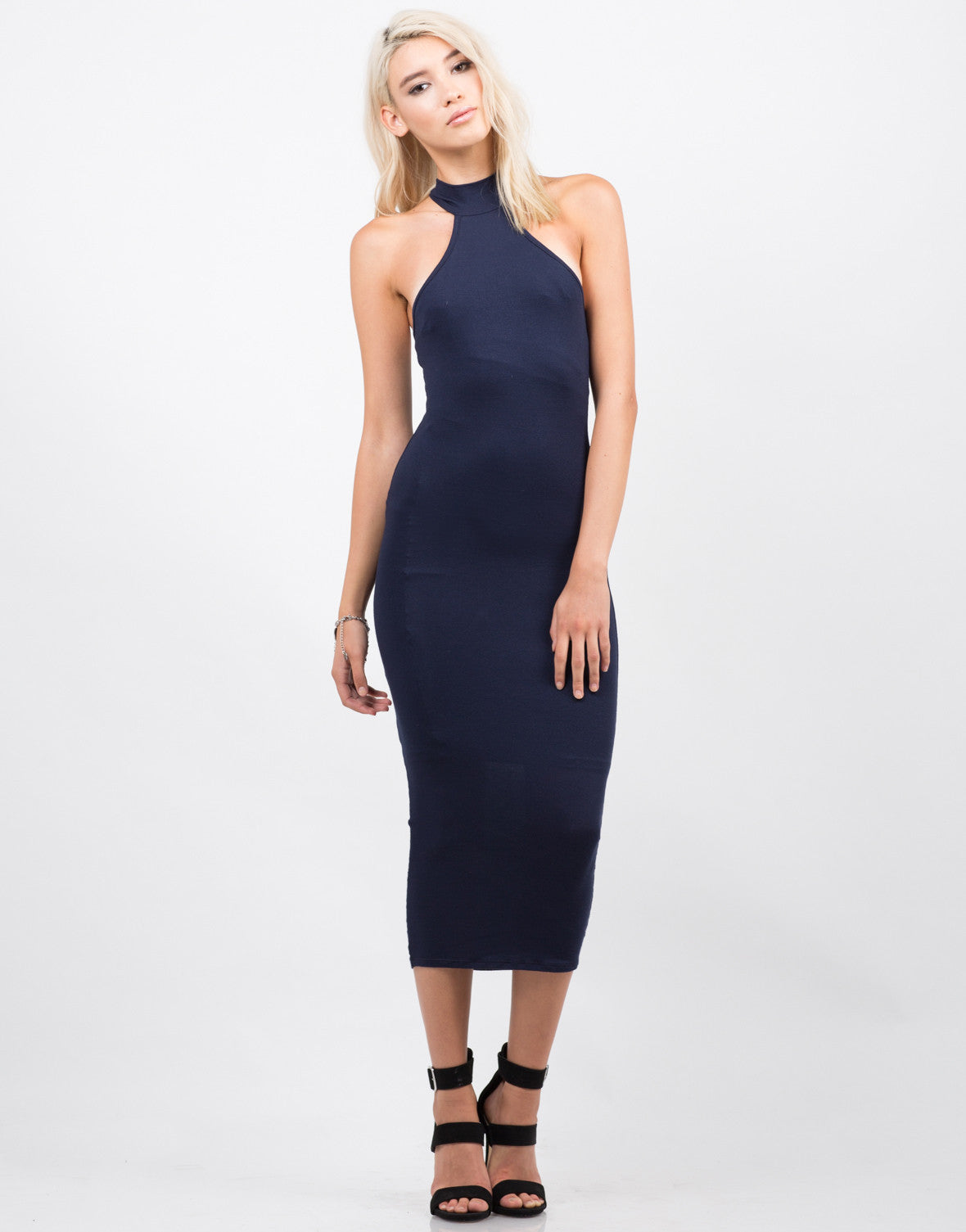 Front View of T-Back High Neck Midi Dress