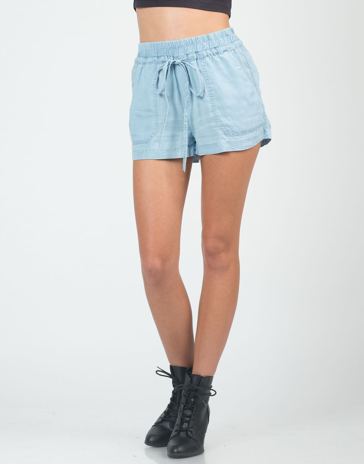 Front View of Tencel Chambray Shorts