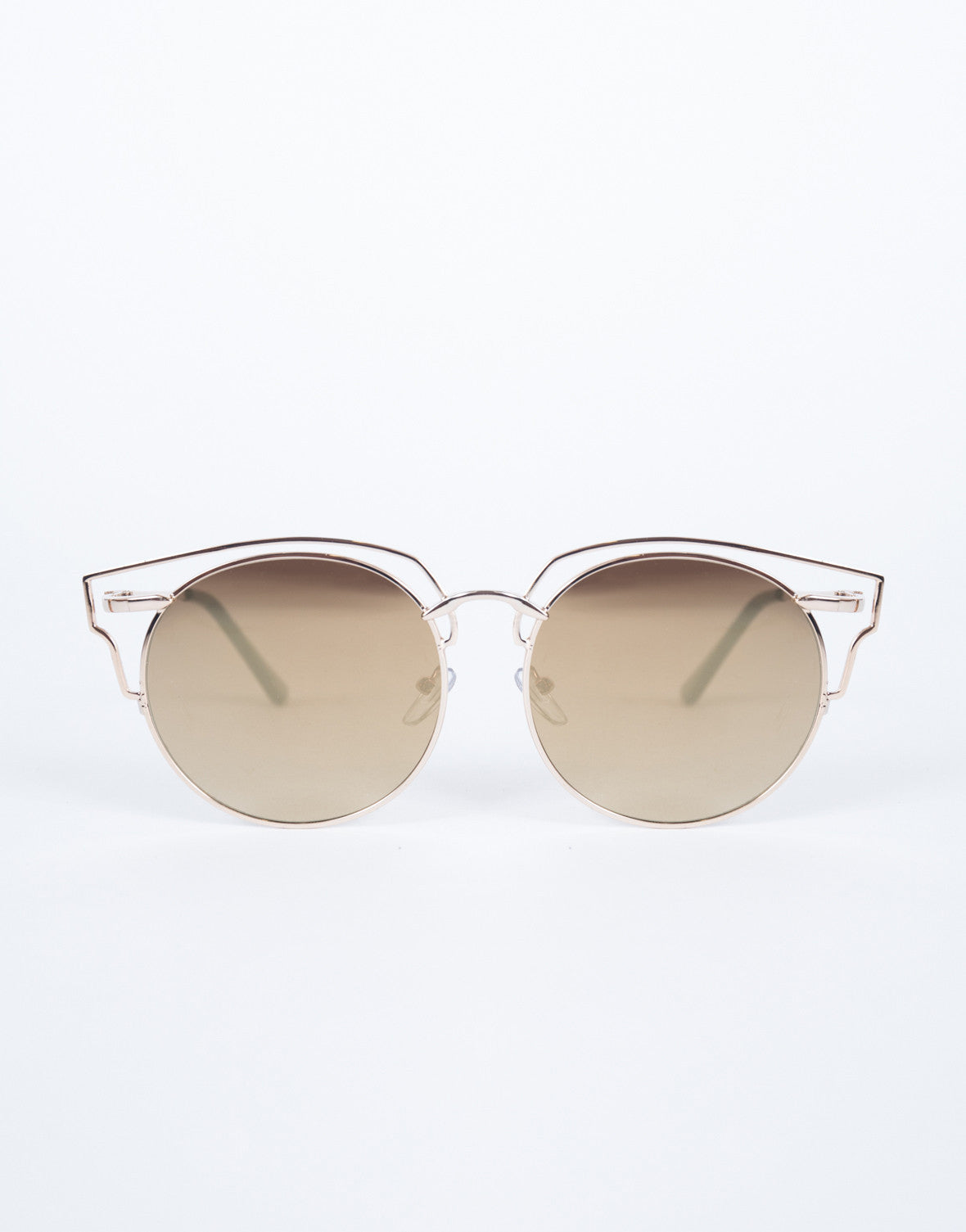 Brown Tessa Cut-Out Sunnies - Front View