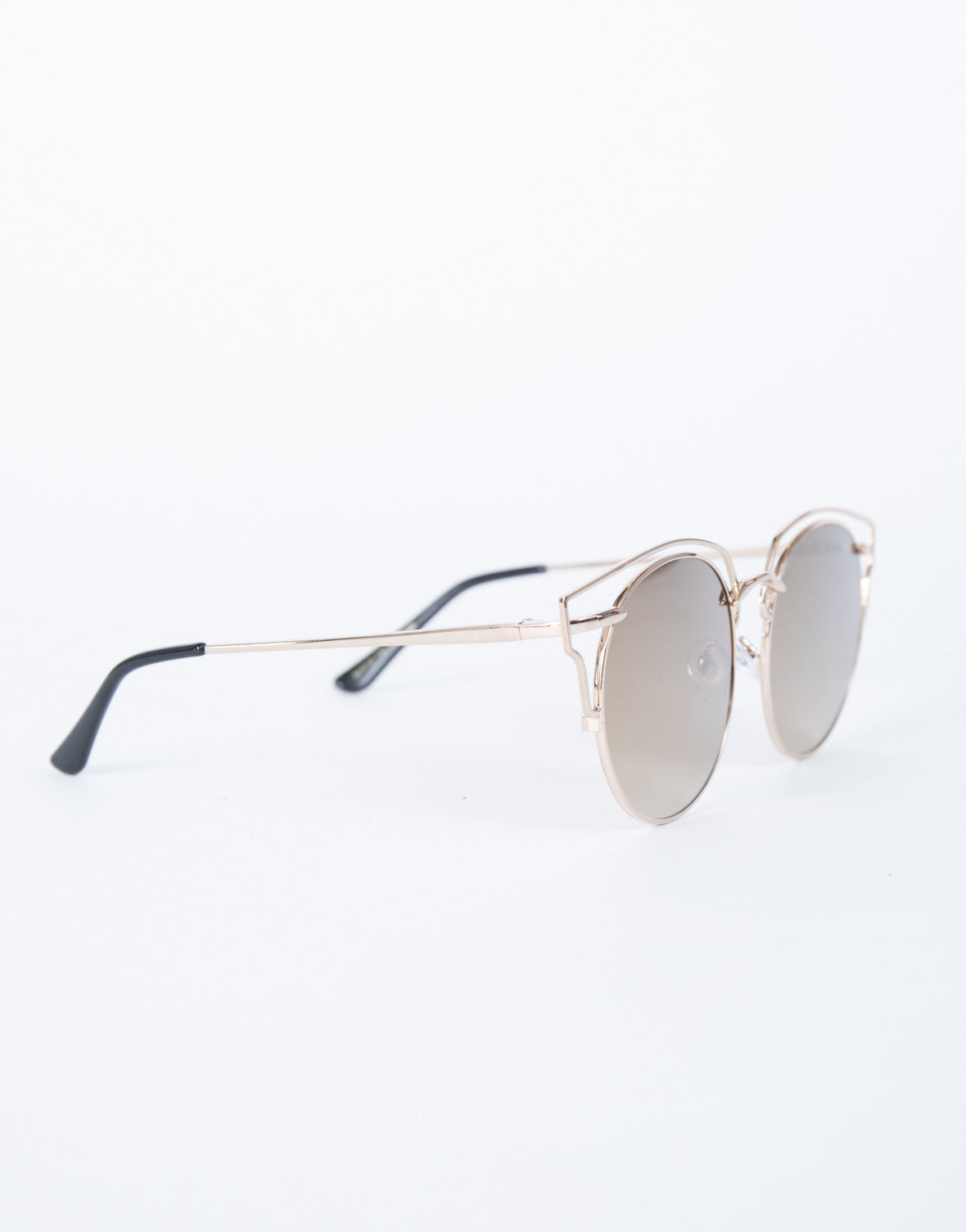 Brown Tessa Cut-Out Sunnies - Side View