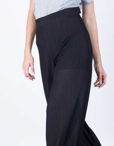 Detail of Textured Wide Leg Pants