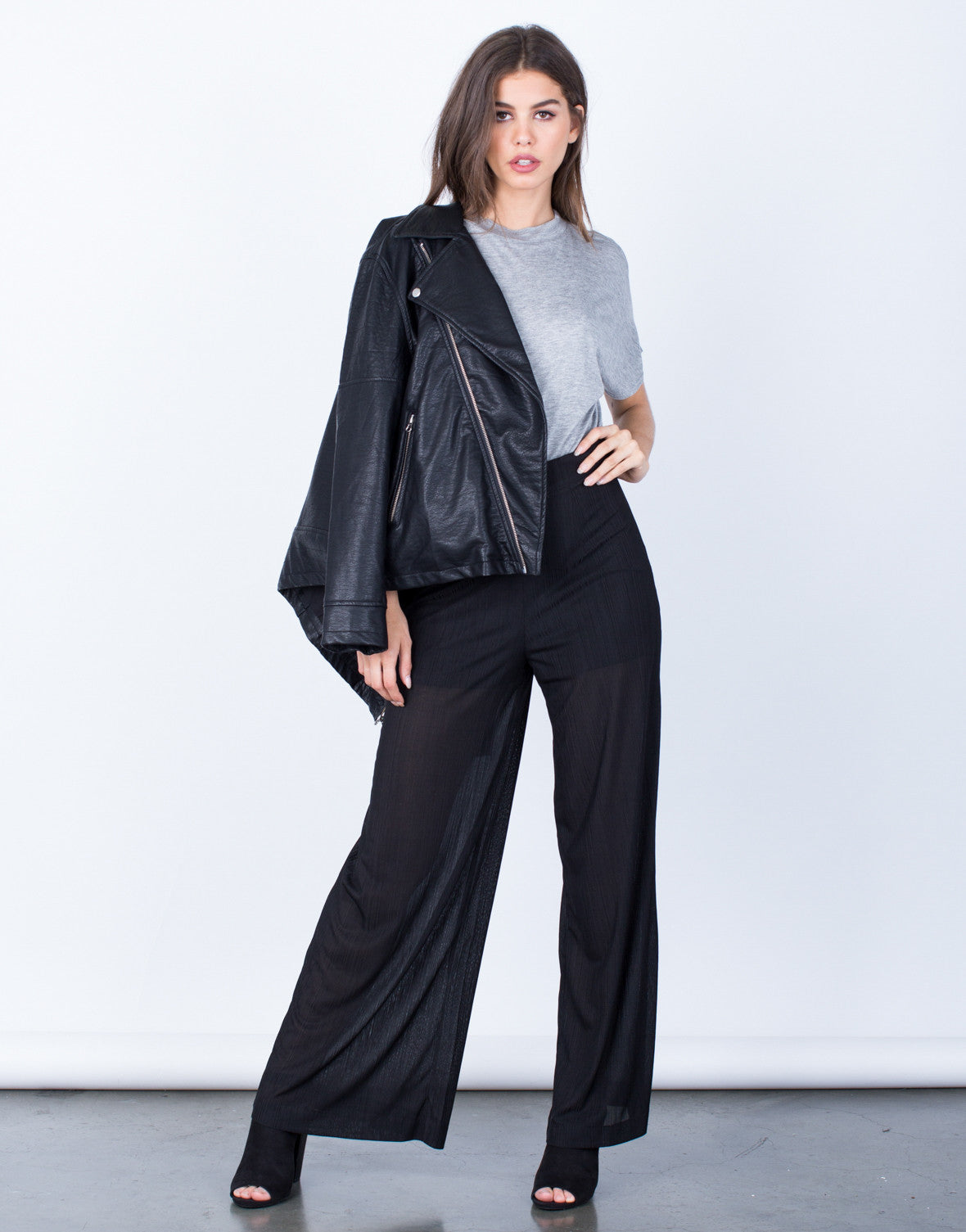 Front View of Textured Wide Leg Pants