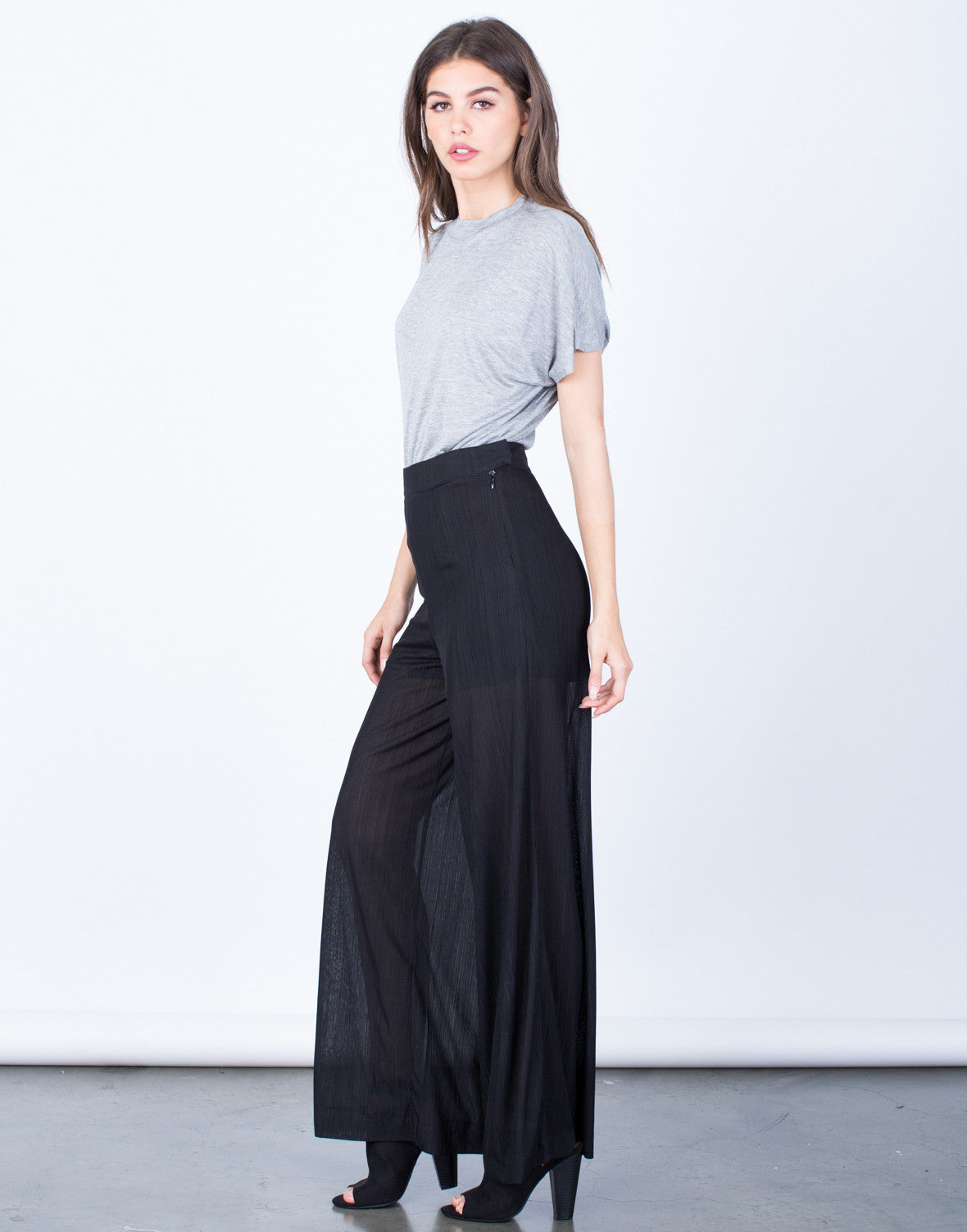Side View of Textured Wide Leg Pants