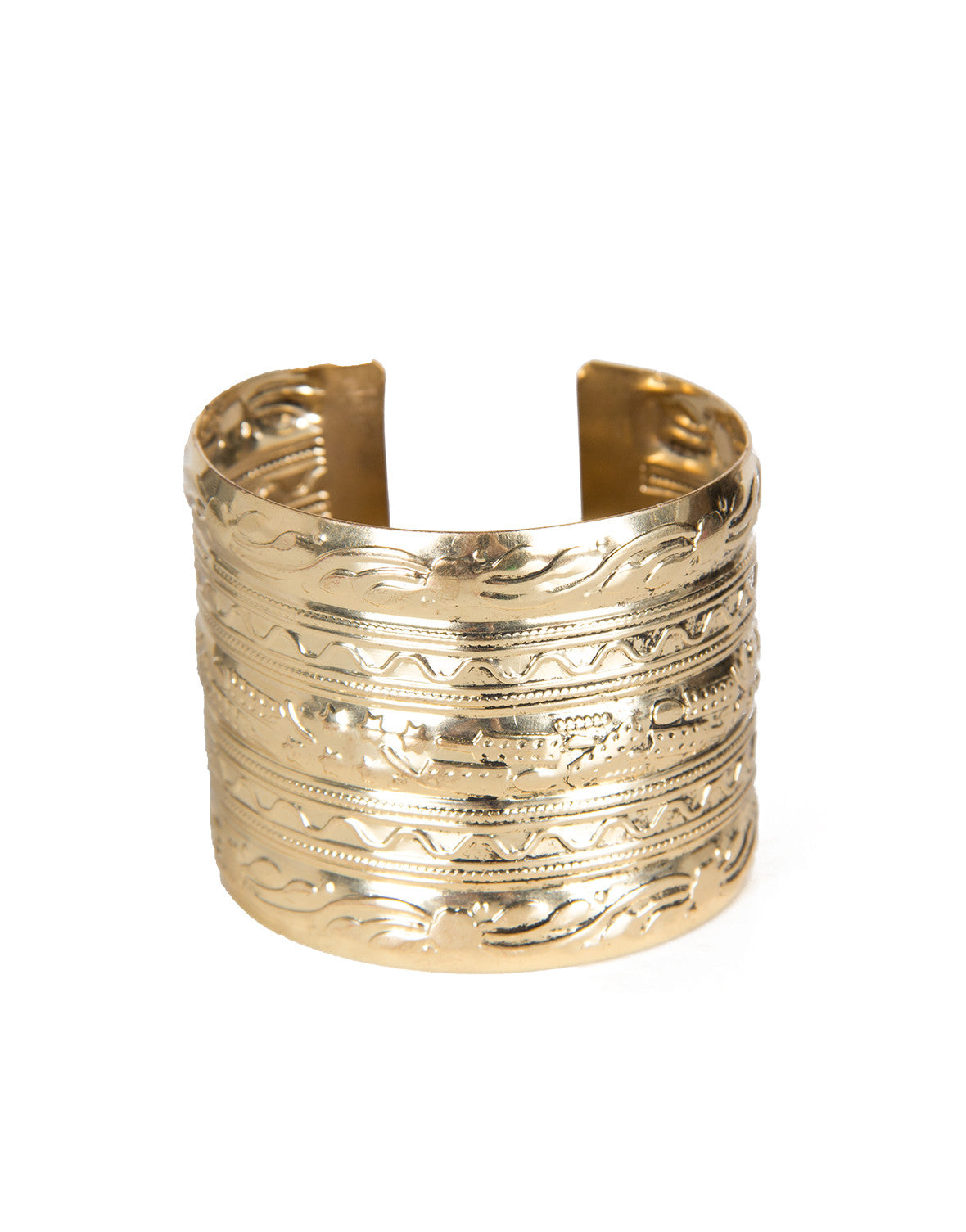 Textured Antique Cuff Bracelet - Gold