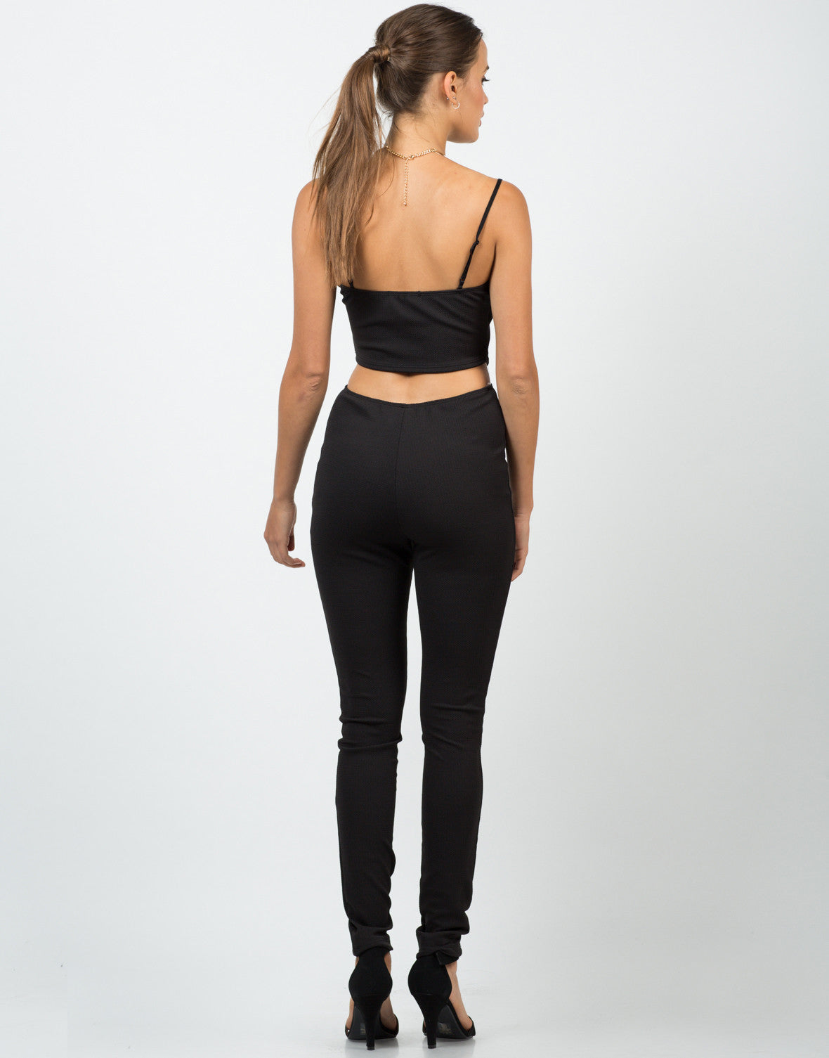 Back View of Textured Cut Out Jumpsuit