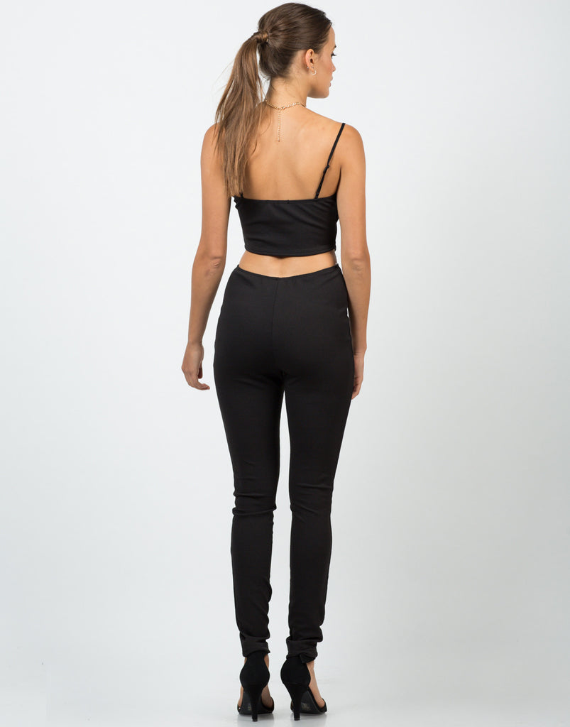 Textured Cut Out Jumpsuit - 2020AVE