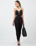Front View of Textured Cut Out Jumpsuit