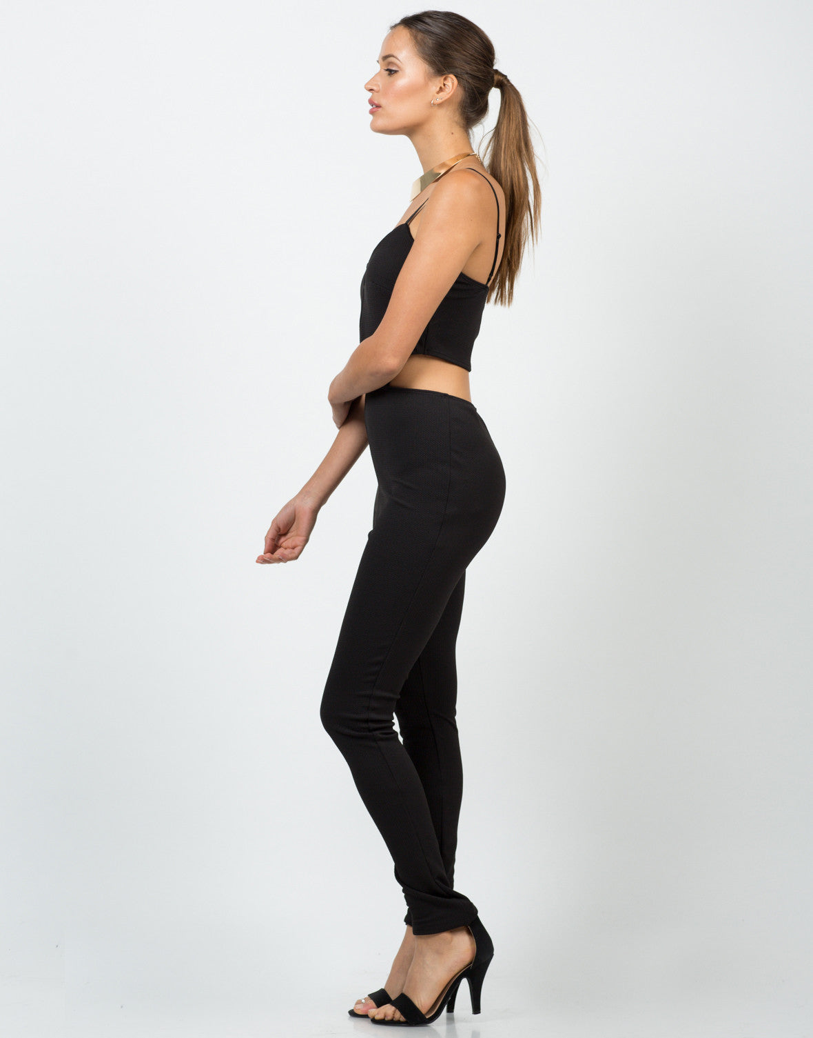 Side View of Textured Cut Out Jumpsuit