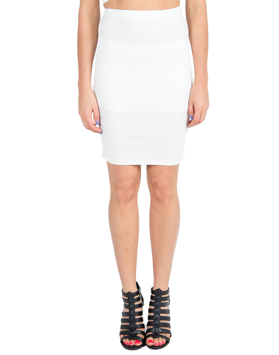 Textured Pencil Skirt - White