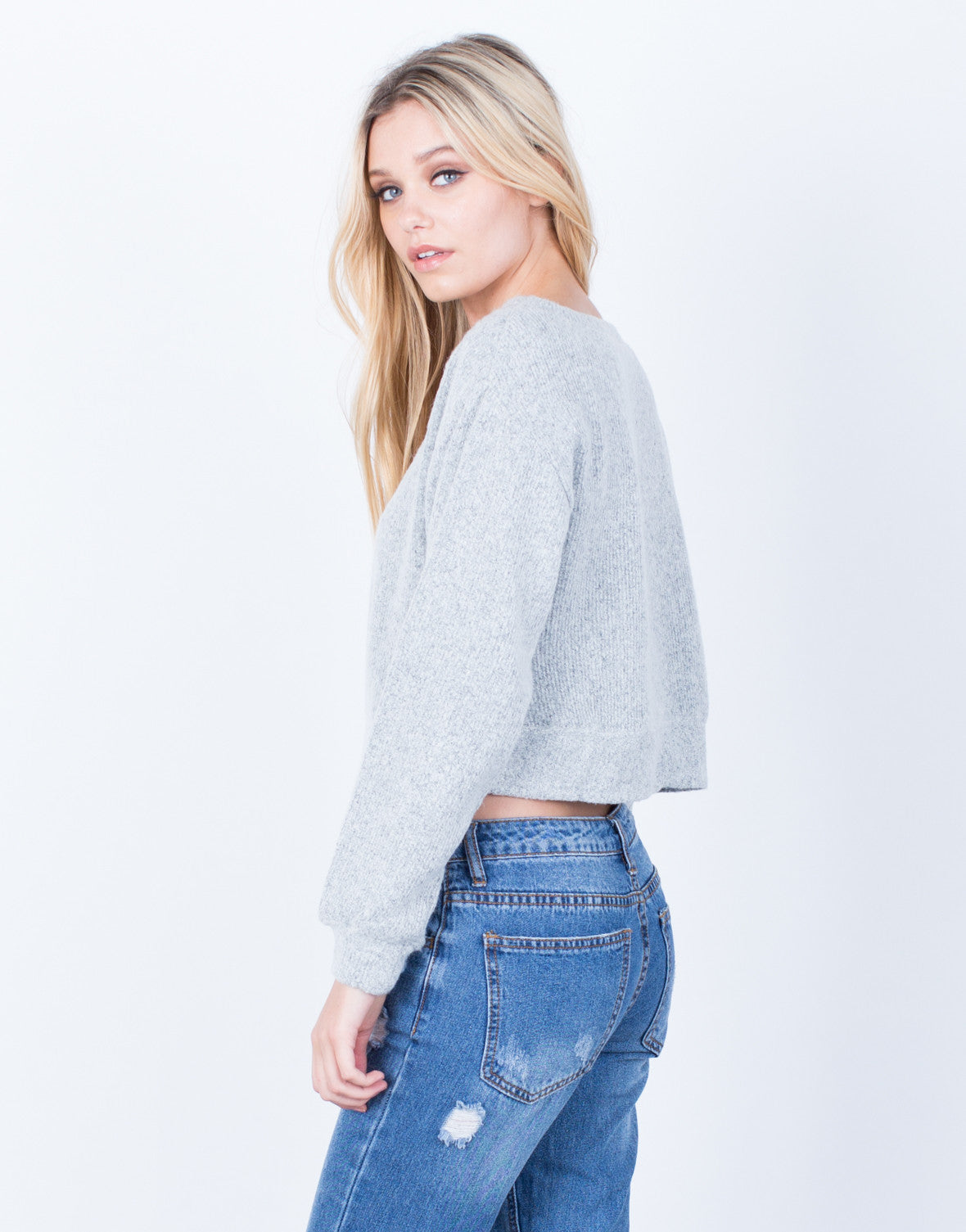 Back View of The Cropped Sweater