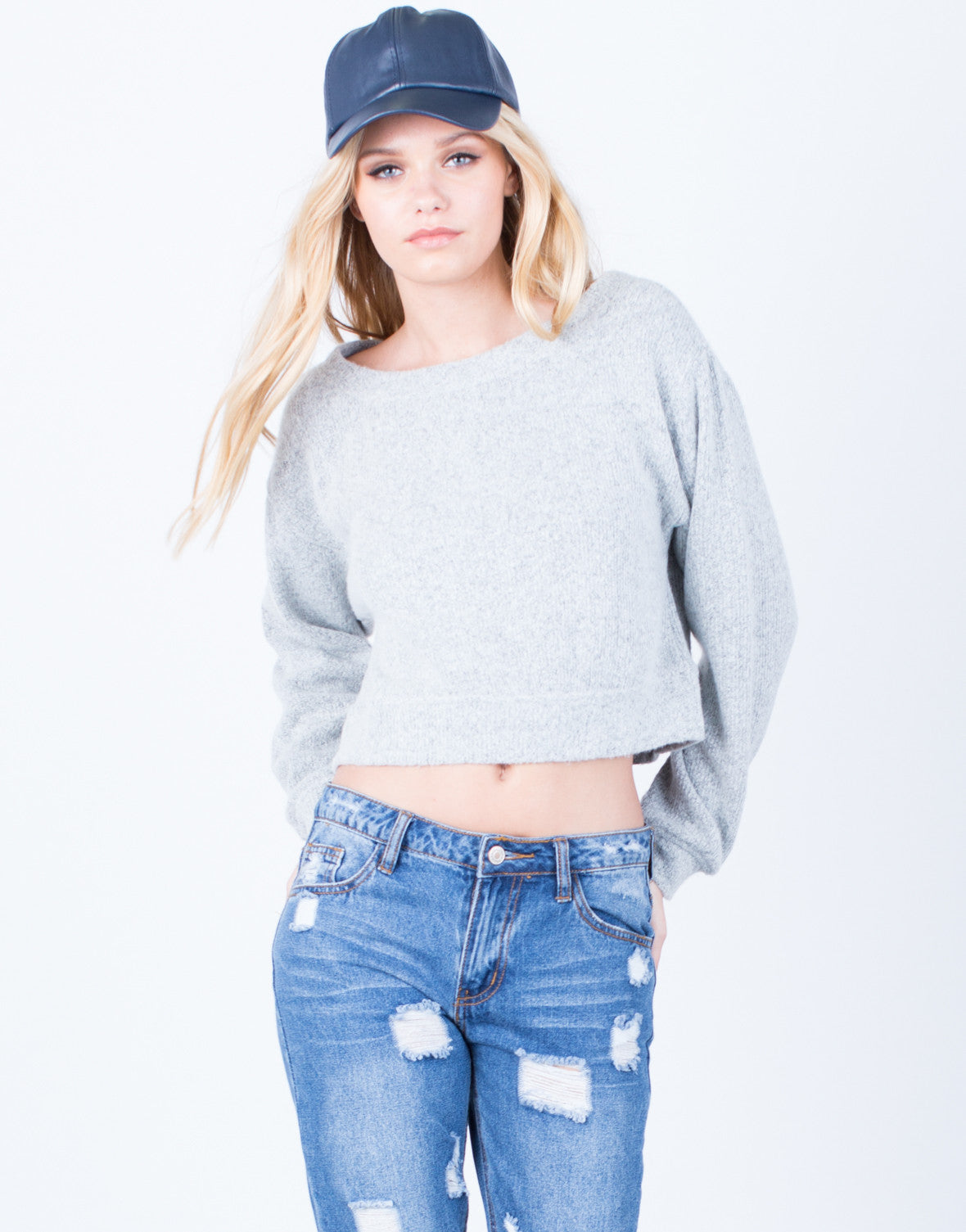 Front View of The Cropped Sweater
