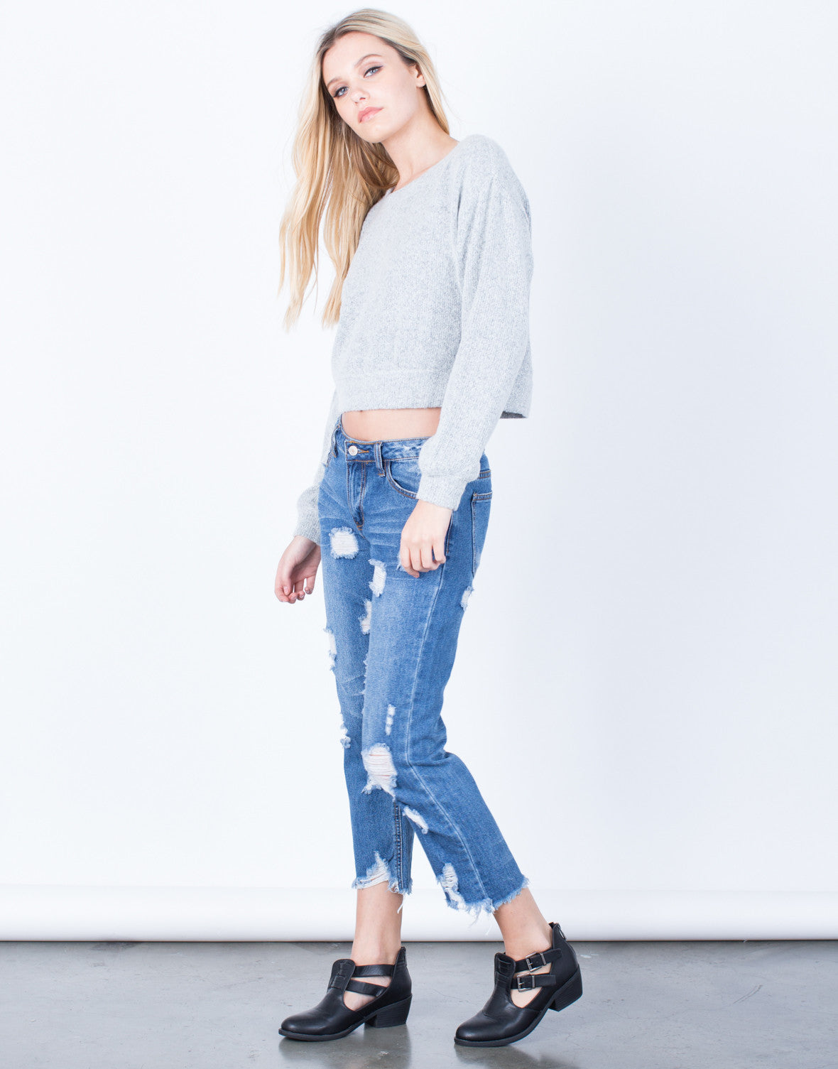 Side View of The Cropped Sweater