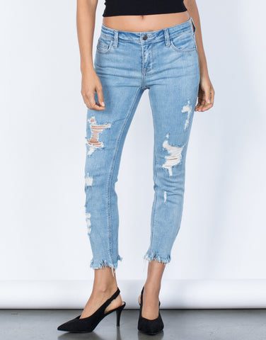 Light Blue The Destroyed Hem Jeans - Front Detail