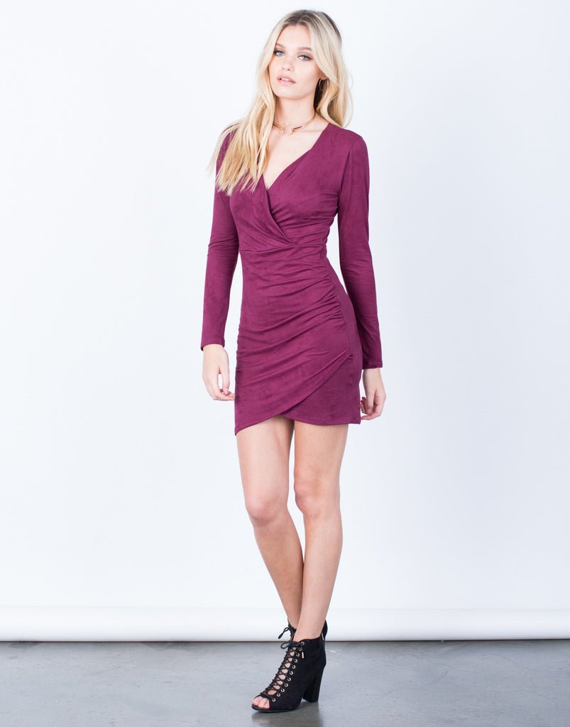 Side View of The Merlot Dress