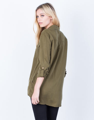 Back View of The Olive Button Up Blouse