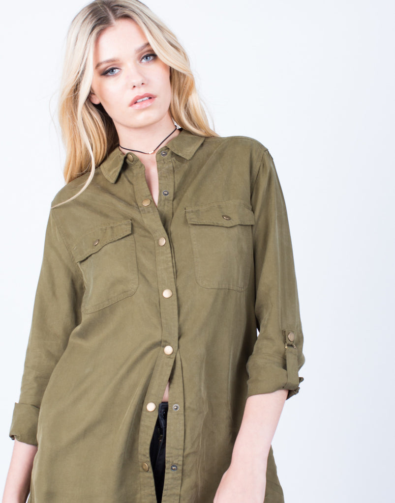 Detail of The Olive Button Up Blouse