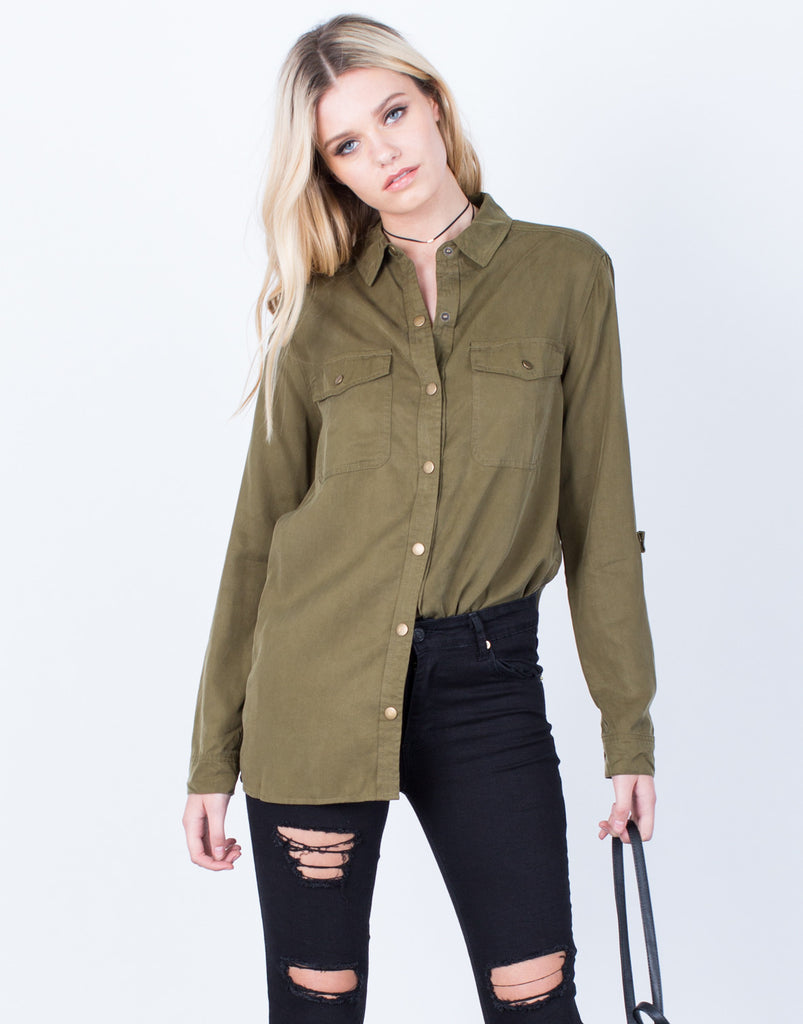 Front View of The Olive Button Up Blouse
