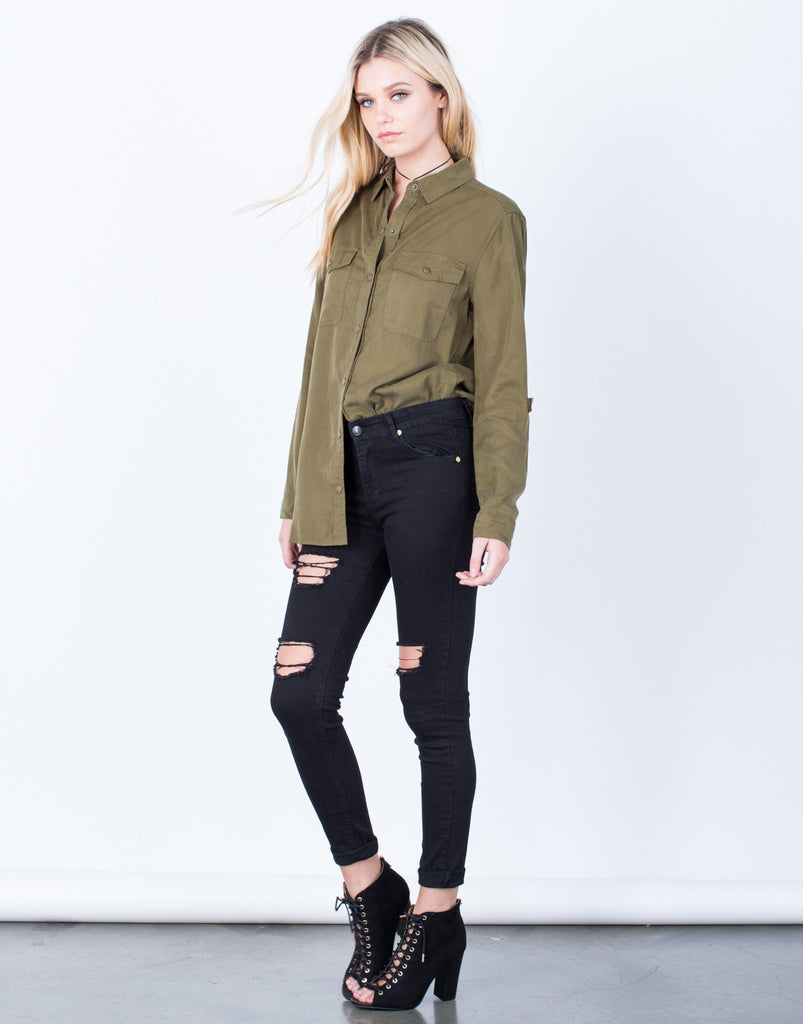 Side View of The Olive Button Up Blouse