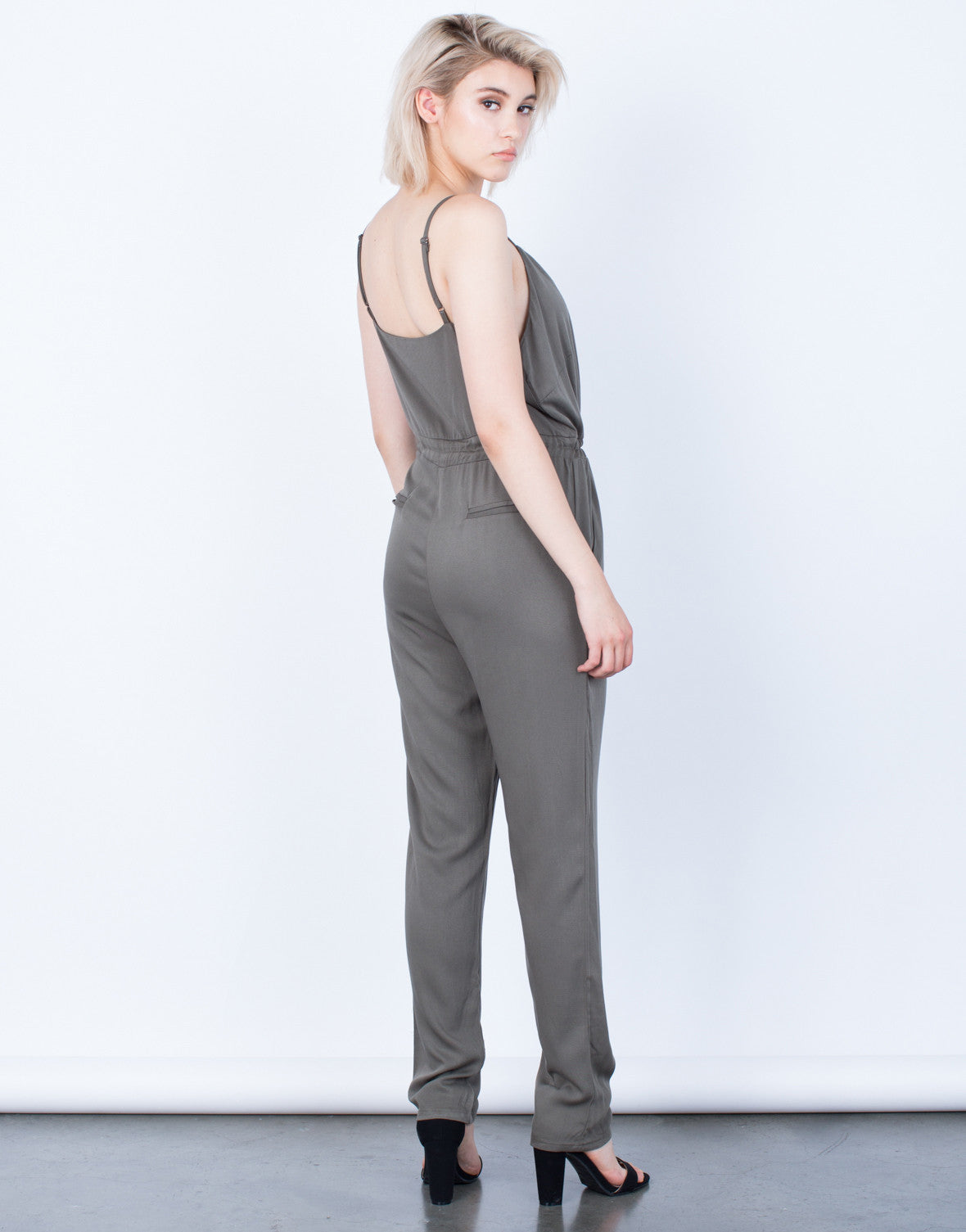 Back View of The Olive Jumpsuit