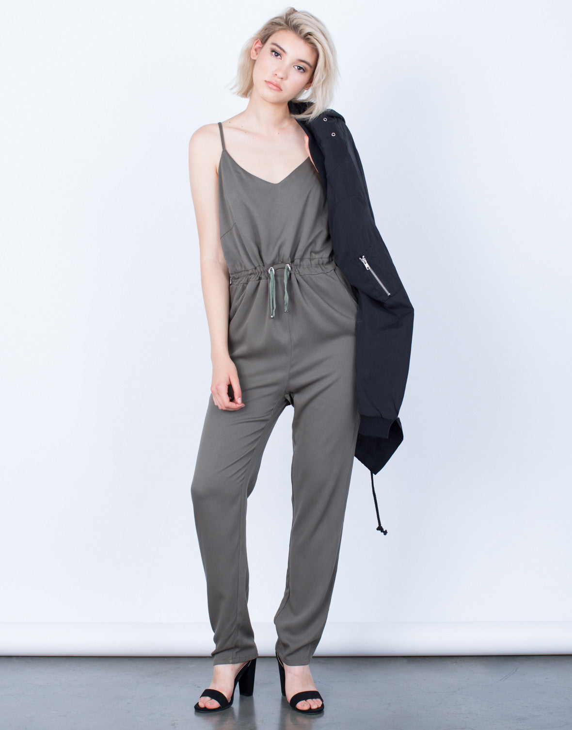Front View of The Olive Jumpsuit