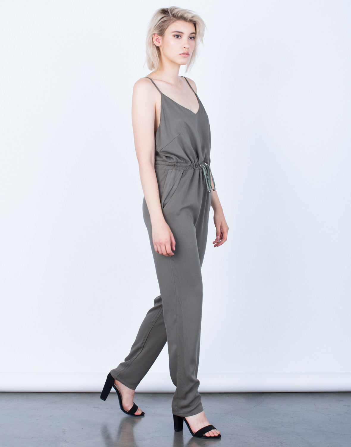 Side View of The Olive Jumpsuit