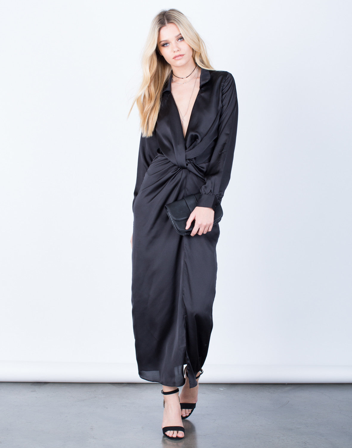Front View of The Satin Maxi