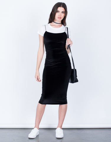 Front View of The Velvet Midi Dress