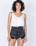 Black Denim The Vintage Denim Shorts - Front VIew