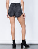 Black Denim The Vintage Denim Shorts - Back View