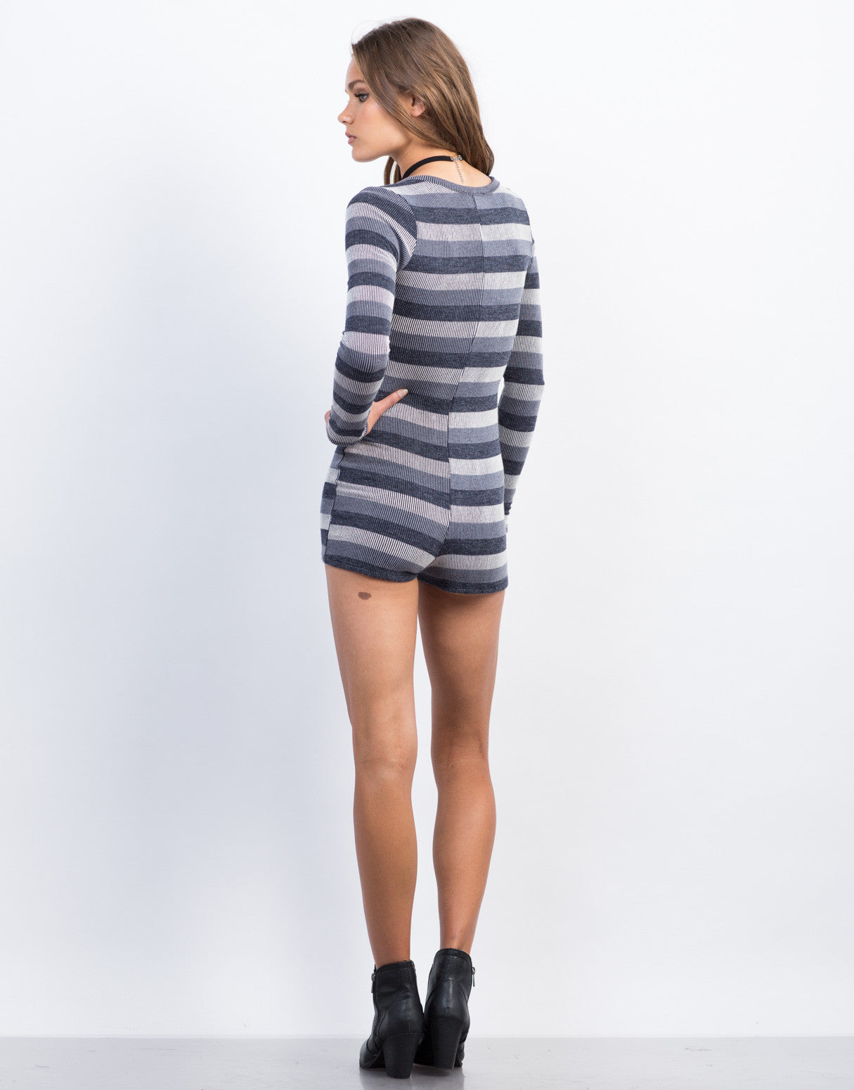 Back View of Thermal Striped Romper