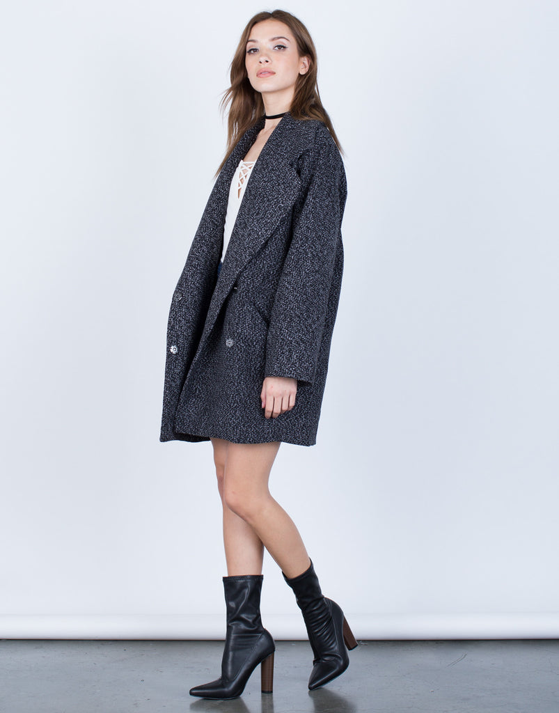 Thick Heathered Coat - Large - 2020AVE