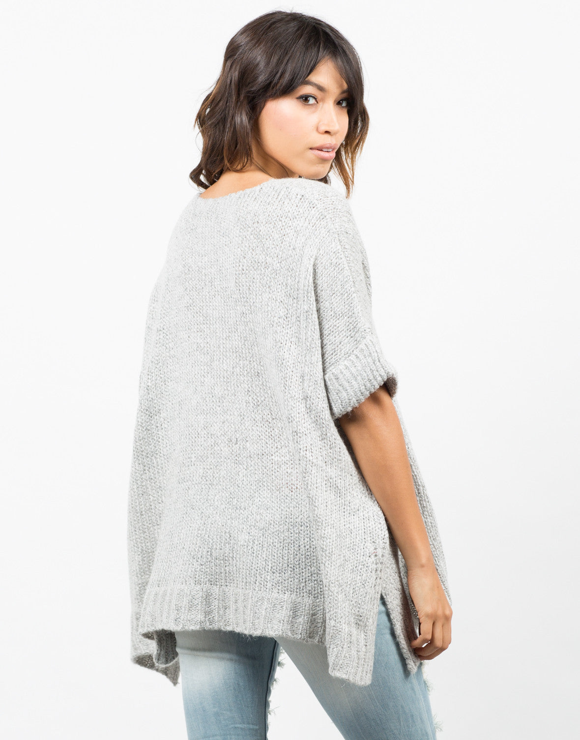 Back View of Thick Knit Sweater Tee