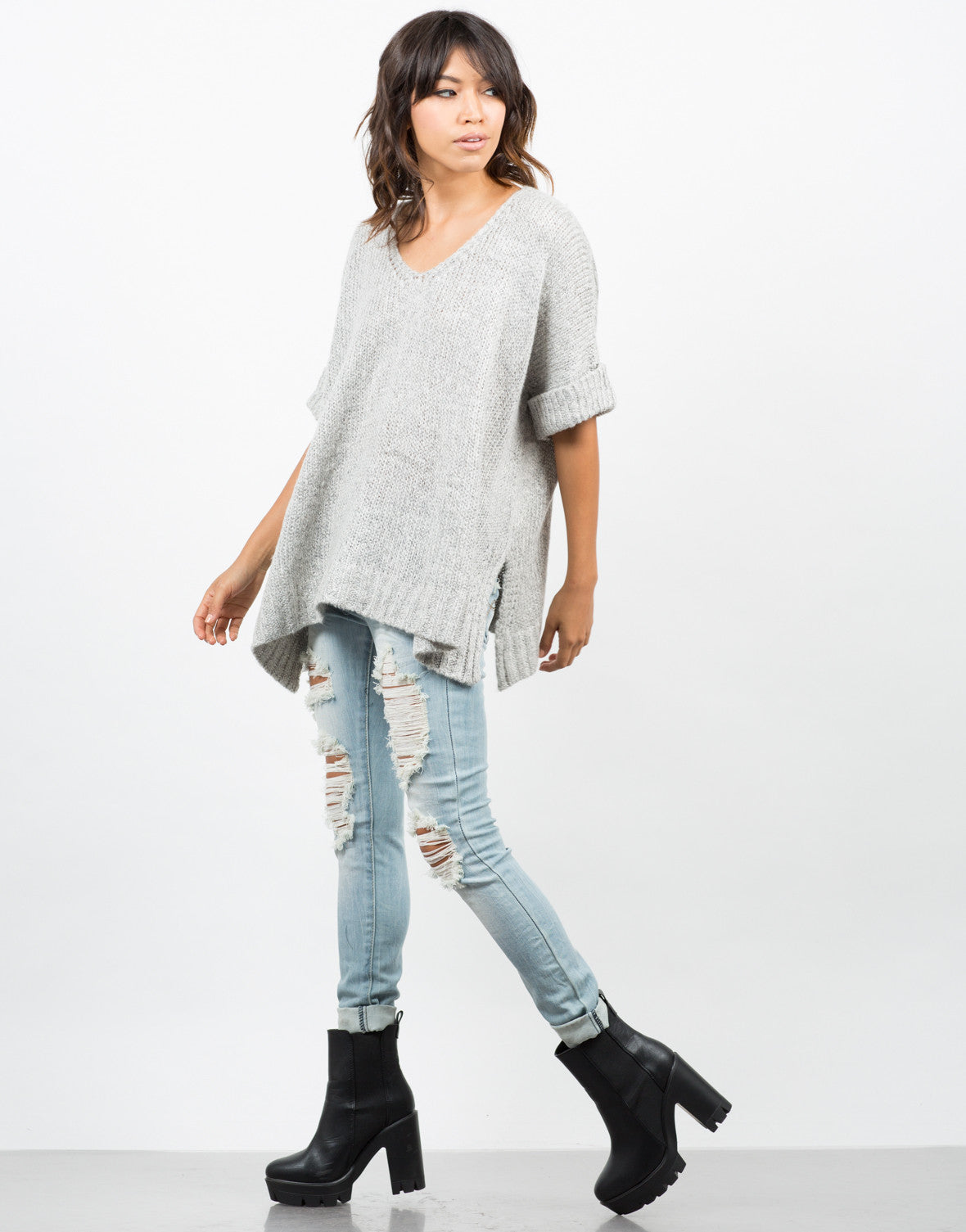 Side View of Thick Knit Sweater Tee