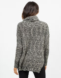 Back View of Thick Mixed Knit Sweater