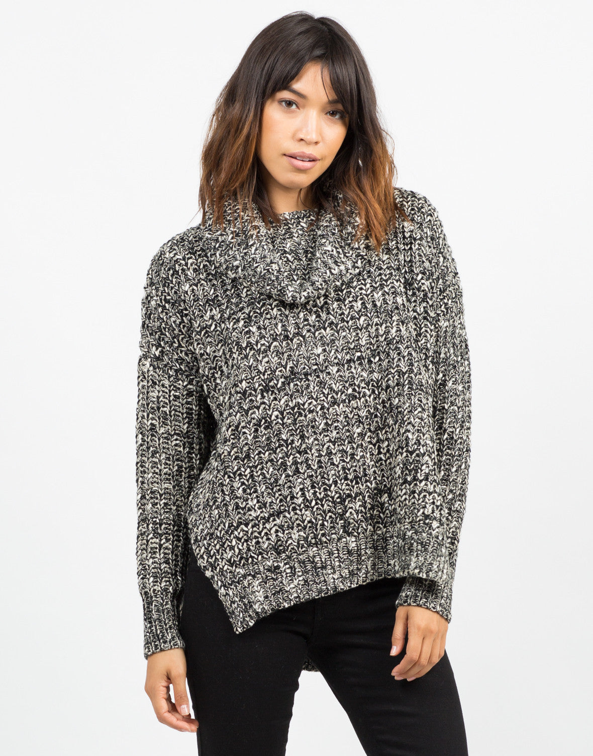 Front View of Thick Mixed Knit Sweater